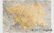 Satellite 3D Map of Kordestan, semi-desaturated