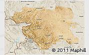 Satellite 3D Map of Kordestan, shaded relief outside