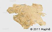 Satellite 3D Map of Kordestan, single color outside