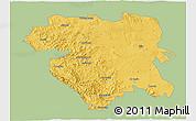 Savanna Style 3D Map of Kordestan, single color outside