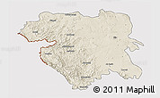 Shaded Relief 3D Map of Kordestan, cropped outside
