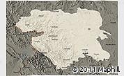 Shaded Relief 3D Map of Kordestan, darken
