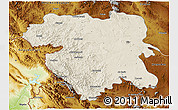 Shaded Relief 3D Map of Kordestan, physical outside
