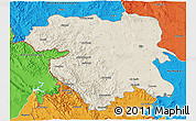 Shaded Relief 3D Map of Kordestan, political outside