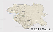 Shaded Relief 3D Map of Kordestan, single color outside