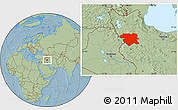 Savanna Style Location Map of Kordestan, hill shading