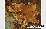 Physical Map of Kordestan, darken