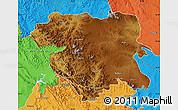 Physical Map of Kordestan, political outside