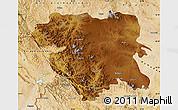 Physical Map of Kordestan, satellite outside