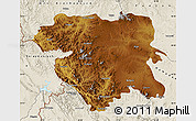 Physical Map of Kordestan, shaded relief outside