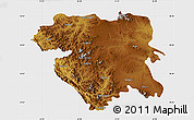 Physical Map of Kordestan, single color outside