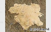 Satellite Map of Kordestan, darken