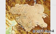 Satellite Map of Kordestan, physical outside