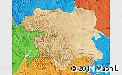Satellite Map of Kordestan, political outside