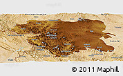 Physical Panoramic Map of Kordestan, satellite outside