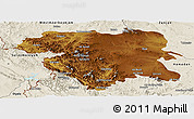 Physical Panoramic Map of Kordestan, shaded relief outside
