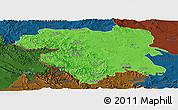 Political Panoramic Map of Kordestan, darken