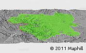 Political Panoramic Map of Kordestan, desaturated