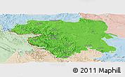 Political Panoramic Map of Kordestan, lighten