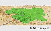 Political Panoramic Map of Kordestan, satellite outside