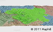 Political Panoramic Map of Kordestan, semi-desaturated