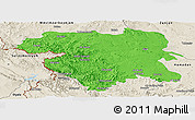 Political Panoramic Map of Kordestan, shaded relief outside