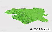 Political Panoramic Map of Kordestan, single color outside