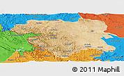 Satellite Panoramic Map of Kordestan, political outside