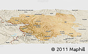 Satellite Panoramic Map of Kordestan, shaded relief outside