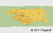 Savanna Style Panoramic Map of Kordestan, single color outside