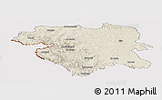 Shaded Relief Panoramic Map of Kordestan, cropped outside