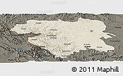 Shaded Relief Panoramic Map of Kordestan, darken