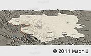 Shaded Relief Panoramic Map of Kordestan, darken