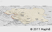 Shaded Relief Panoramic Map of Kordestan, desaturated
