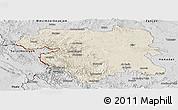 Shaded Relief Panoramic Map of Kordestan, desaturated