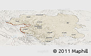 Shaded Relief Panoramic Map of Kordestan, lighten