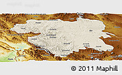 Shaded Relief Panoramic Map of Kordestan, physical outside