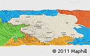 Shaded Relief Panoramic Map of Kordestan, political outside