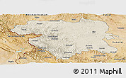 Shaded Relief Panoramic Map of Kordestan, satellite outside