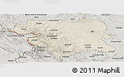 Shaded Relief Panoramic Map of Kordestan, semi-desaturated