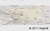 Shaded Relief Panoramic Map of Kordestan, semi-desaturated