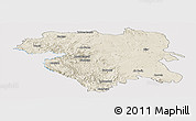 Shaded Relief Panoramic Map of Kordestan, single color outside