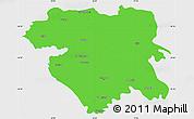 Political Simple Map of Kordestan, single color outside