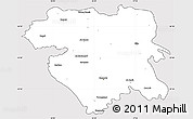 Silver Style Simple Map of Kordestan, cropped outside