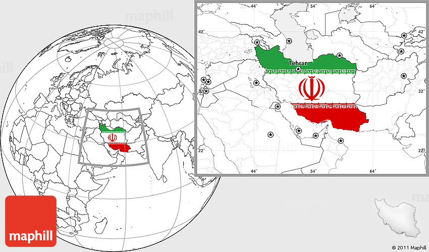 Flag Location Map of Iran blank outside