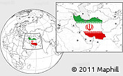 Flag Location Map of Iran, blank outside