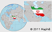 Flag Location Map of Iran, gray outside