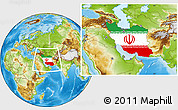 Flag Location Map of Iran, physical outside