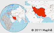 Gray Location Map of Iran, highlighted continent
