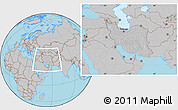Gray Location Map of Iran, hill shading inside